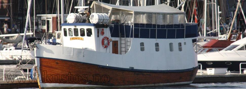 Fiskeskøyte med treskrog og hvit topp - Freikoll